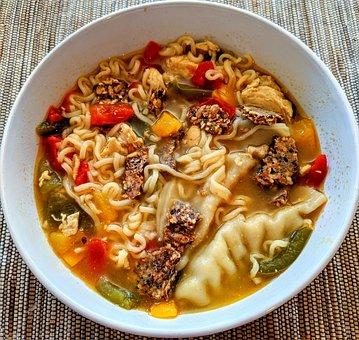 Soup, Ramen, Noodles, White, Bowl, Asian, Pot Stickers