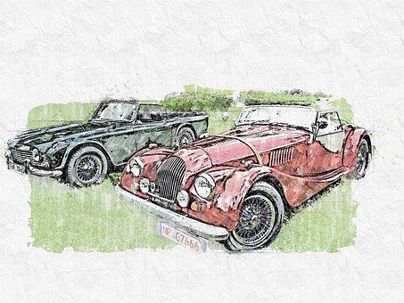 Austin, Triumph, Old, Fifties, Auto, Oldtimer