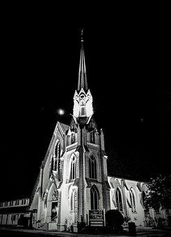 Black And White, Church, Steeple, Light, Building