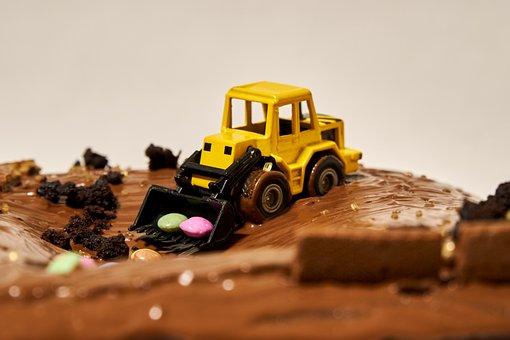 Excavators, Blade, Site, Miniature, Toys, Cake