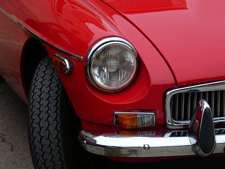 Car, Sport, Red, Retro, Classic, Old, Coupe, Detail