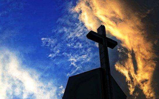 Silhouette, Cross, Church, Sky, Blue, Evening, Sunset