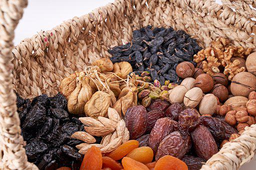 Nuts, Nuts Basket, Dried Fruits, Pecan, Almond