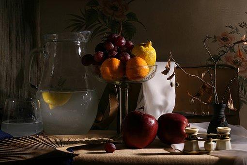 Still Life Theatre, Fruit, Binoculars, Fan, Lemon Water