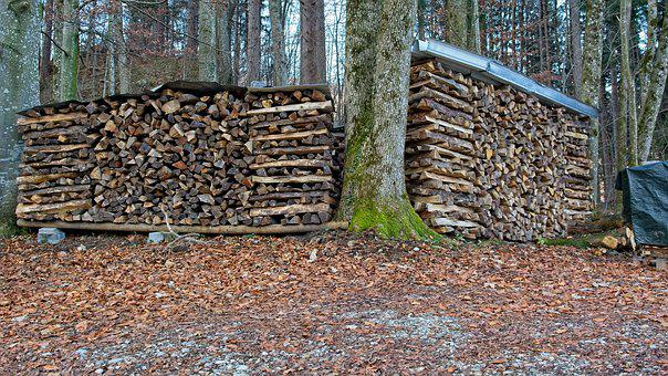 Firewood, Logs, Holzstapel, Stacked Up, Stack, Nature