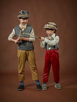 Kids, Steampunk, Boys, Robbers, Gentlemen, Vintage