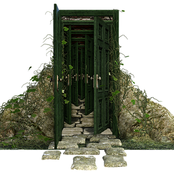 Open Doors, Green, Vines, Steps, Stones, Leaves, 3d