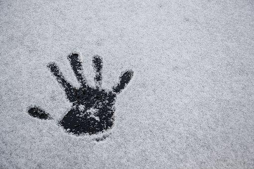 Snow, Winter, Cold, Hand, Hi Five, Hand Print, Texture