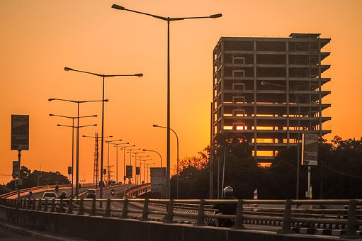 Buildings, Highway, Sunset, Dawn, Sky