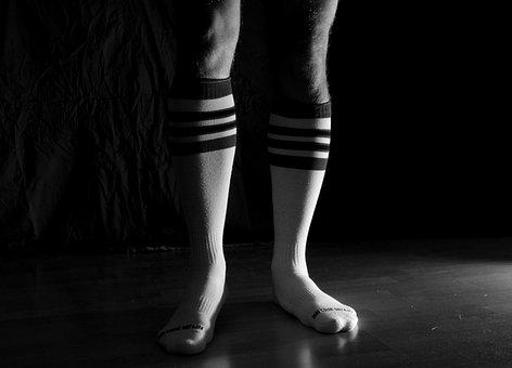 Sport, Socks, Knee-high Socks, Black And White, Feet