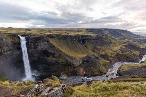 Háifoss, Iceland, Waterfall, Idyll, Landscape, Gorgeous