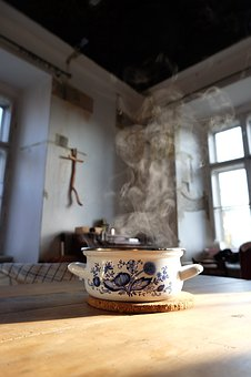Pot, Table, Steam, Cook, Cross, Morning, Old, Wood, Hot