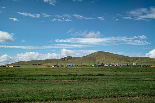Mongolia, Grassland, Sky, Plain, Clear, Nature, Meadow
