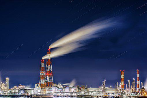 Night View, Oil-related Plant, Smoke