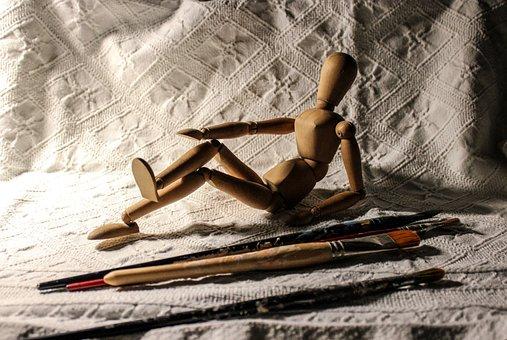 Dummy, Paintbrushes, Paint, Art