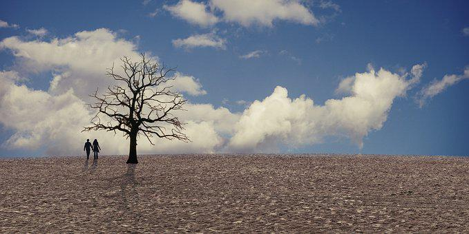 Climate, Climate Change, Drought, Clouds, Pair, Person