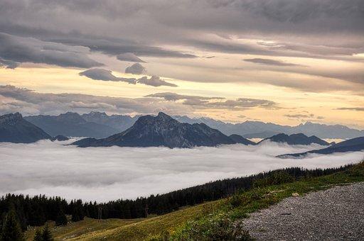 Panorama, Landscape, Mountain, Clouds, Panoramic