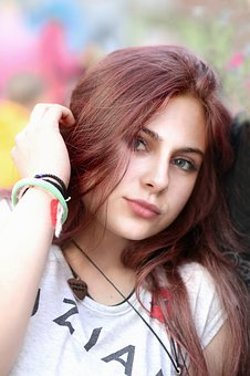 Portrait, Girl, Hair, Red, Hand, Eyes, Colorful