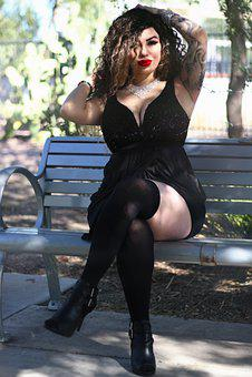 Thick, Latina, Red Lips, Lipstick, Black Dress, Hair