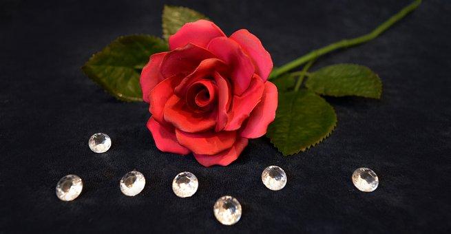 Rose, Porcelain Rose, Red, Rhinestones, Love, Romantic