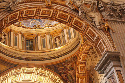 Vatican, Ceiling, St, Peter's, Rome, Historic, Italy