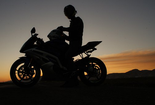 Motorcycle, Sunset, Engine, Silhouette, Speed