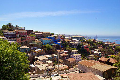 Chile, Valparaiso, Sky, Hill, Colorful, City, Color