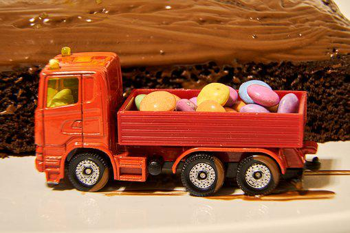 Dump Truck, Truck, Load Area, Loading, Full, Smarties