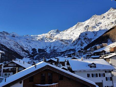 Saas Fee, Skiing, Mountains, Valais, Snow, Winter