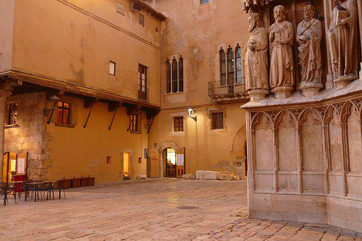 Tarragona, Spain, Square, Church, Building