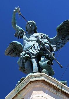 Rome, Statue, Bridge, Bronze, Green, Patina, Italy
