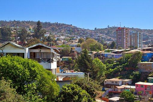 Chile, Valparaiso, Sky, Hill, Colorful, City, Color