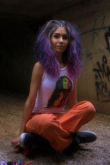 Cute, Purple Hair, Wild Hair, Hairstyle, Bob Marley