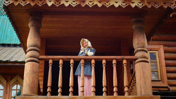 Girl, Woman, Russian, Russia, Wooden Architecture