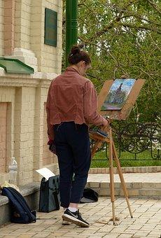 Artist, Writes, Draws, Girl, Learning, Student, Easel