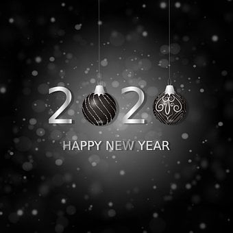 Happy New Year, 2020, Balls Christmas, Numbers