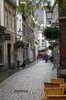 Maastricht, Alley, Cobblestone, Road, Architecture