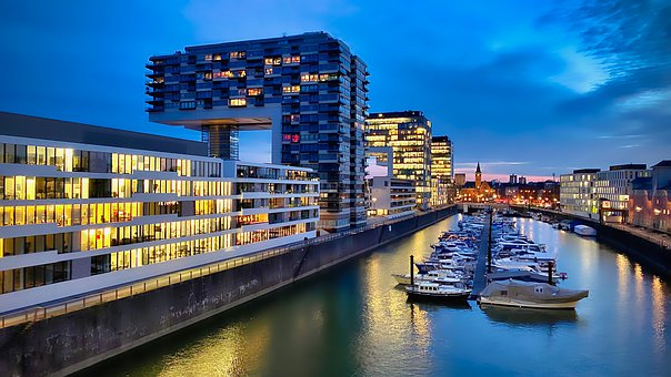 Port, Boats, Reflection, Architecture, Blue Hour