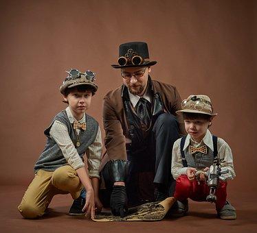Steampunk, Kids, Man, Gentlemen, Robbers, Vintage, Boys
