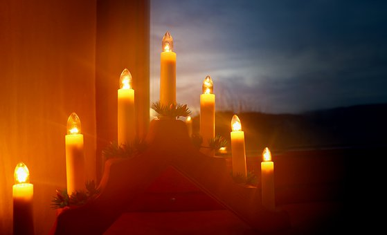 Christmas, Candlestick, Atmosphere, Light, Candles