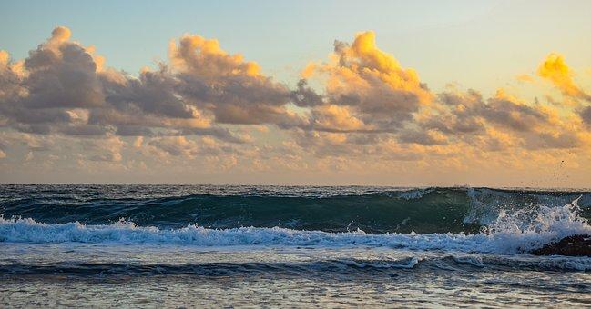 Rocky Coast, Sea, Waves, Sky, Clouds, Dramatic, Nature