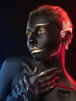Body Painting, Makeup, Cosplay, Portrait, Dark Skin