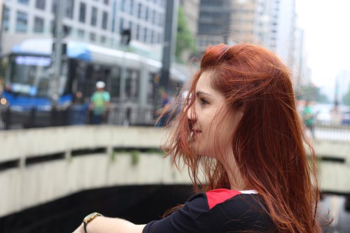 Girl, Redhead, Wind, Thoughtful, Countries