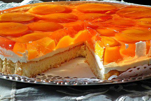 Cake, Biscuit, Jelly, Peaches, Cream, Yogurt