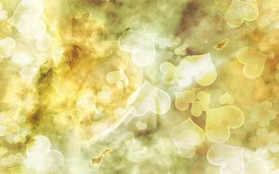 Heart, Shiny, Floating, Light, Fantasy, Orange, Gold