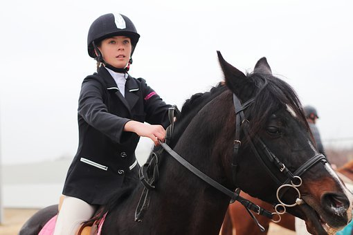 Horse, Race, Girl, Costume, Black, Brown, Hippodrome