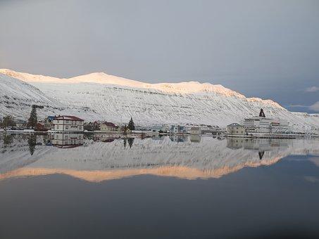 Iceland, Inlet, Sea, Mountains, Water, Mirroring