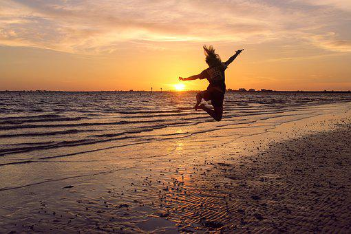 Beach, Jump, Silhouette, Jumping, Water, Ocean, Summer