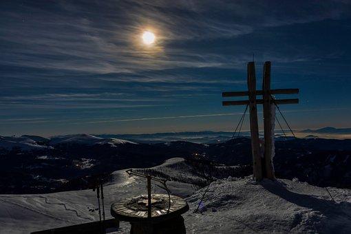 Full Moon, Mountain, Summit, Falkert, Carinthia