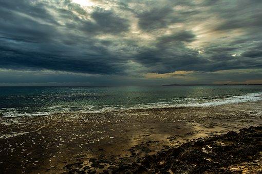 Rocky Coast, Sea, Overcast, Sky, Clouds, Dramatic